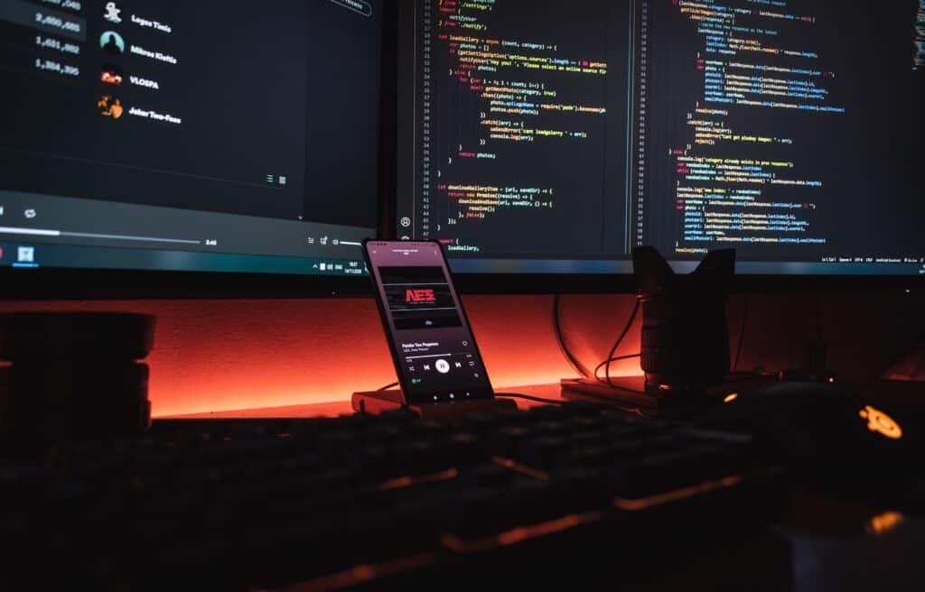 Desk of a mobile app developer.