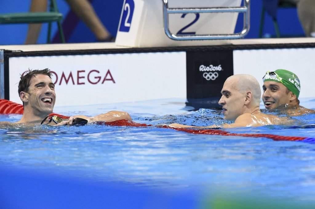 Michael Phelps, László Cseh and Chad Le Clos