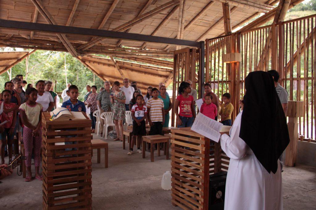 chapel, Ecuador, bamboo, building