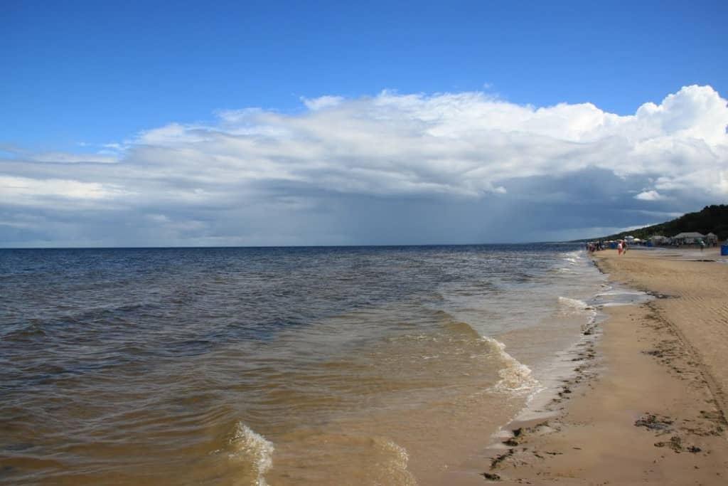 beach white sand jurmala white Baltic Sea clouds