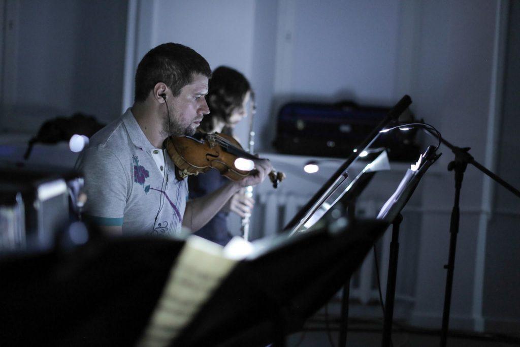 Conservatory musicians join the AndrewQuinn / NikolayPopov AV performance.