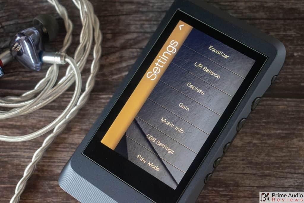 DX120 Settings menu
