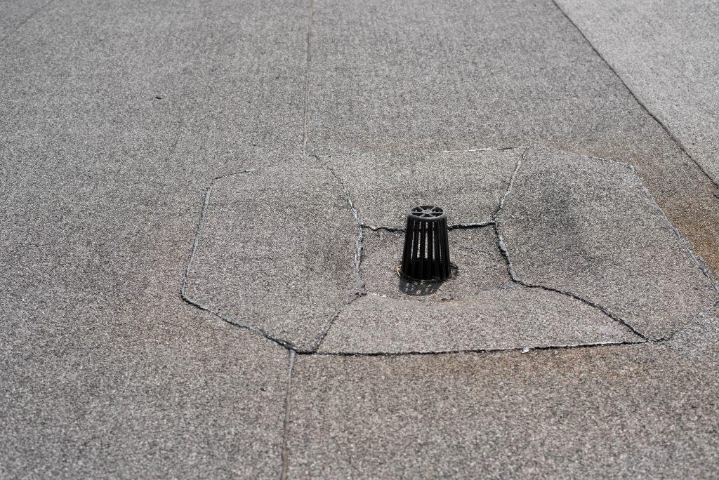 Close up of a modified bitumen flat roof