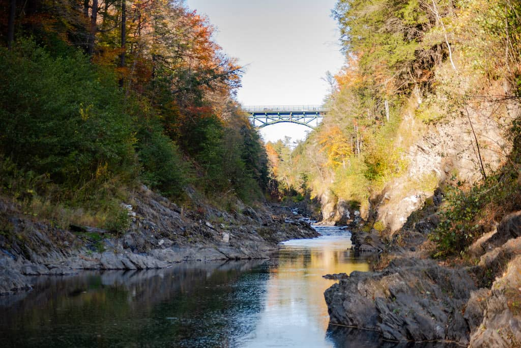 The Route 4 Bridge in Quechee, Vermont as seen from the bottom of Quechee Gorge