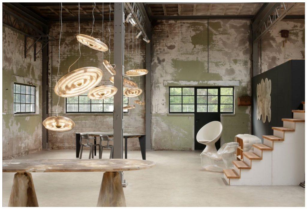 Stół, krzesło i oświetlenie Popcorn design