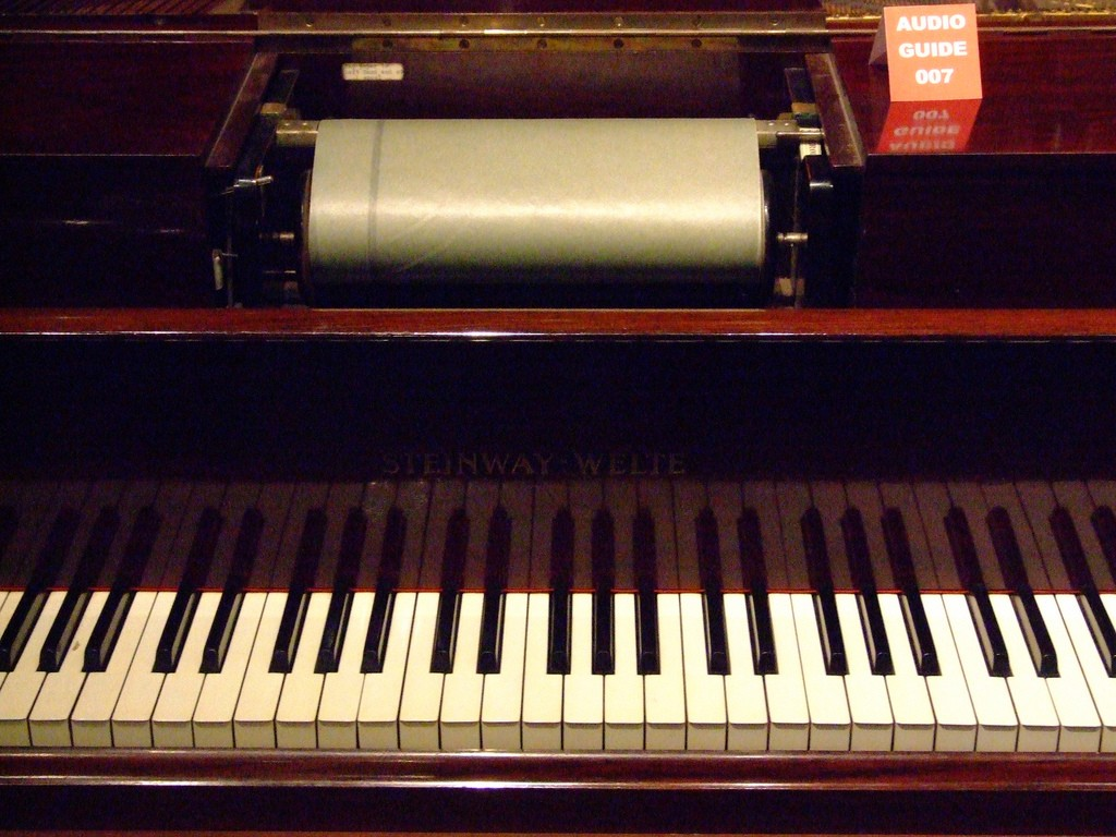 Player piano with roll. Photo (CC-BY) Les Chatfield.