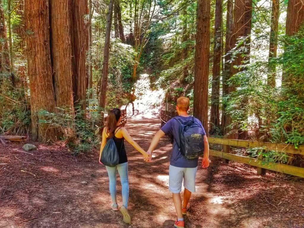 Redwood Regional Park couple holding hands