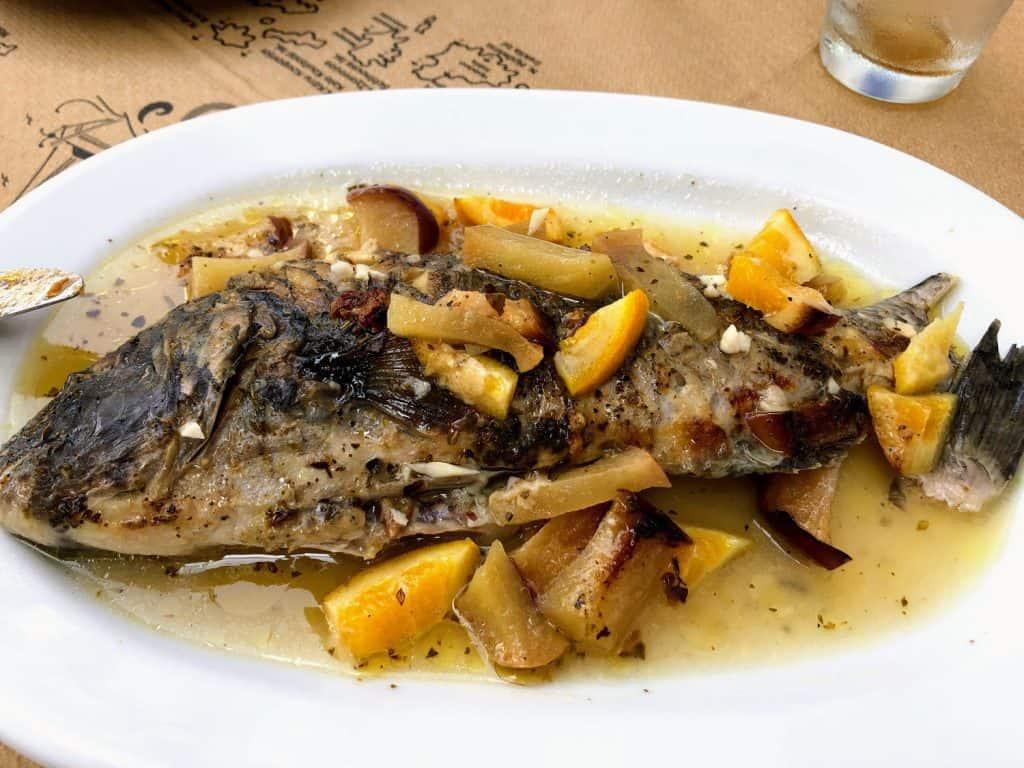 Skaros fish dish in Amorgós, Greece