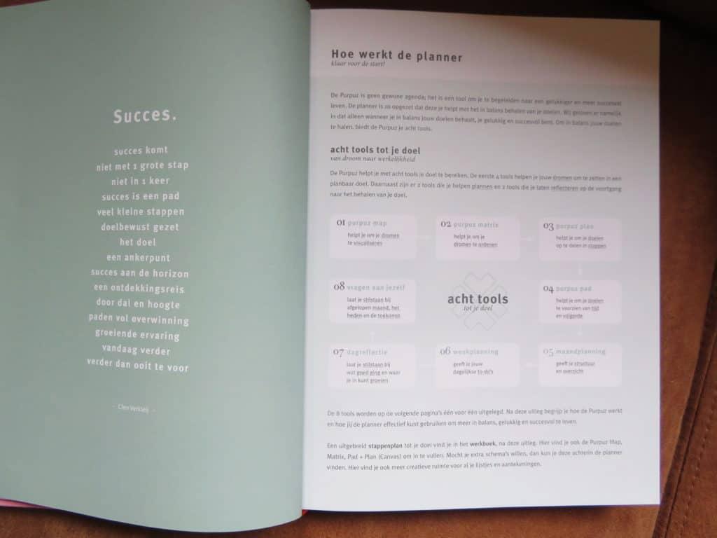 Uitleg van de purpuz planner door middel van 8 tools om jou doelen op te stellen en zo effectief  mogelijk te bereiken.