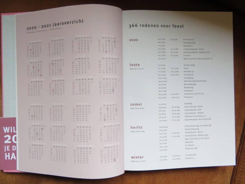 Purpuz planner jaaroverzicht en feestdagen
