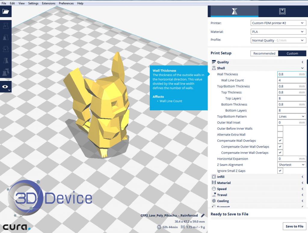 Cura 2 информация о настройках 3D печати