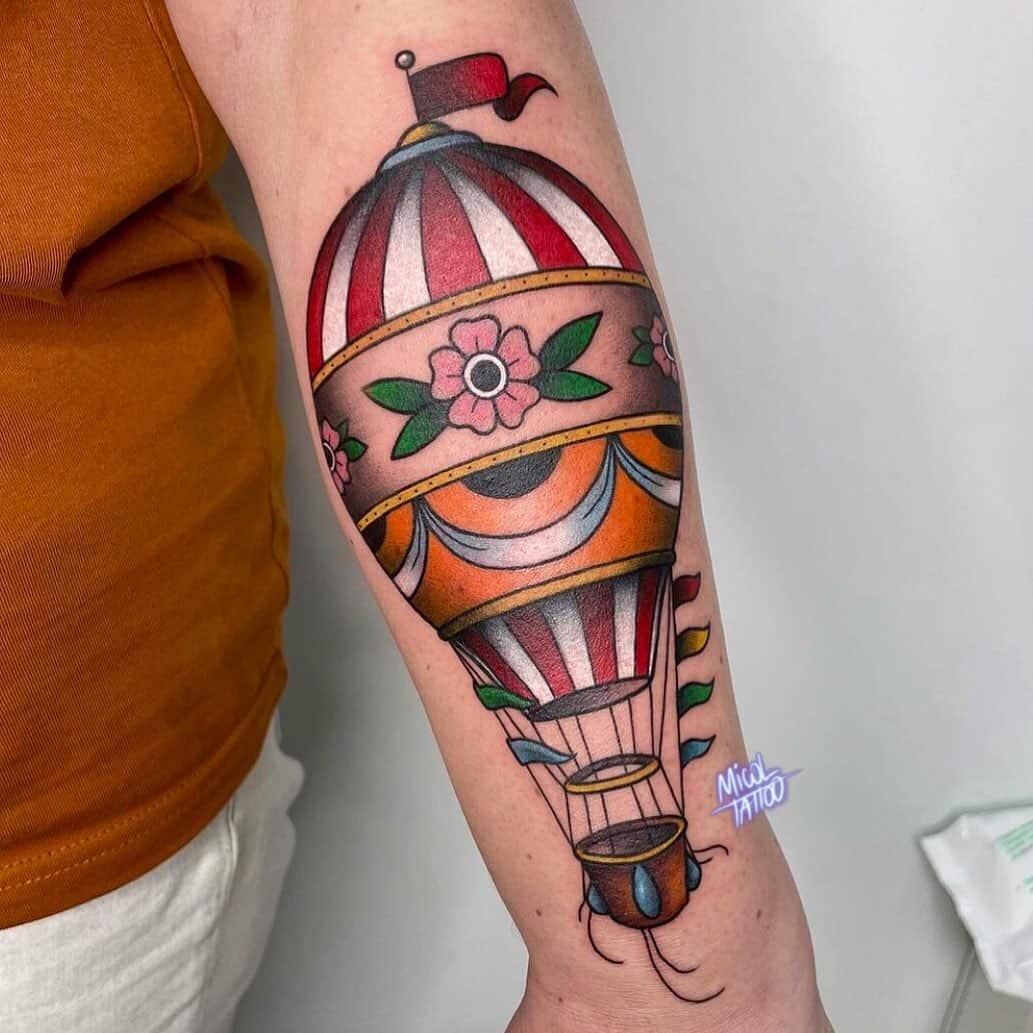 Vintage hot air balloon tattoo 4