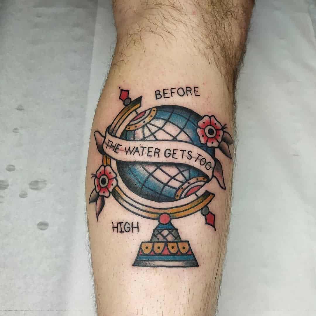Vintage globe tattoo 4
