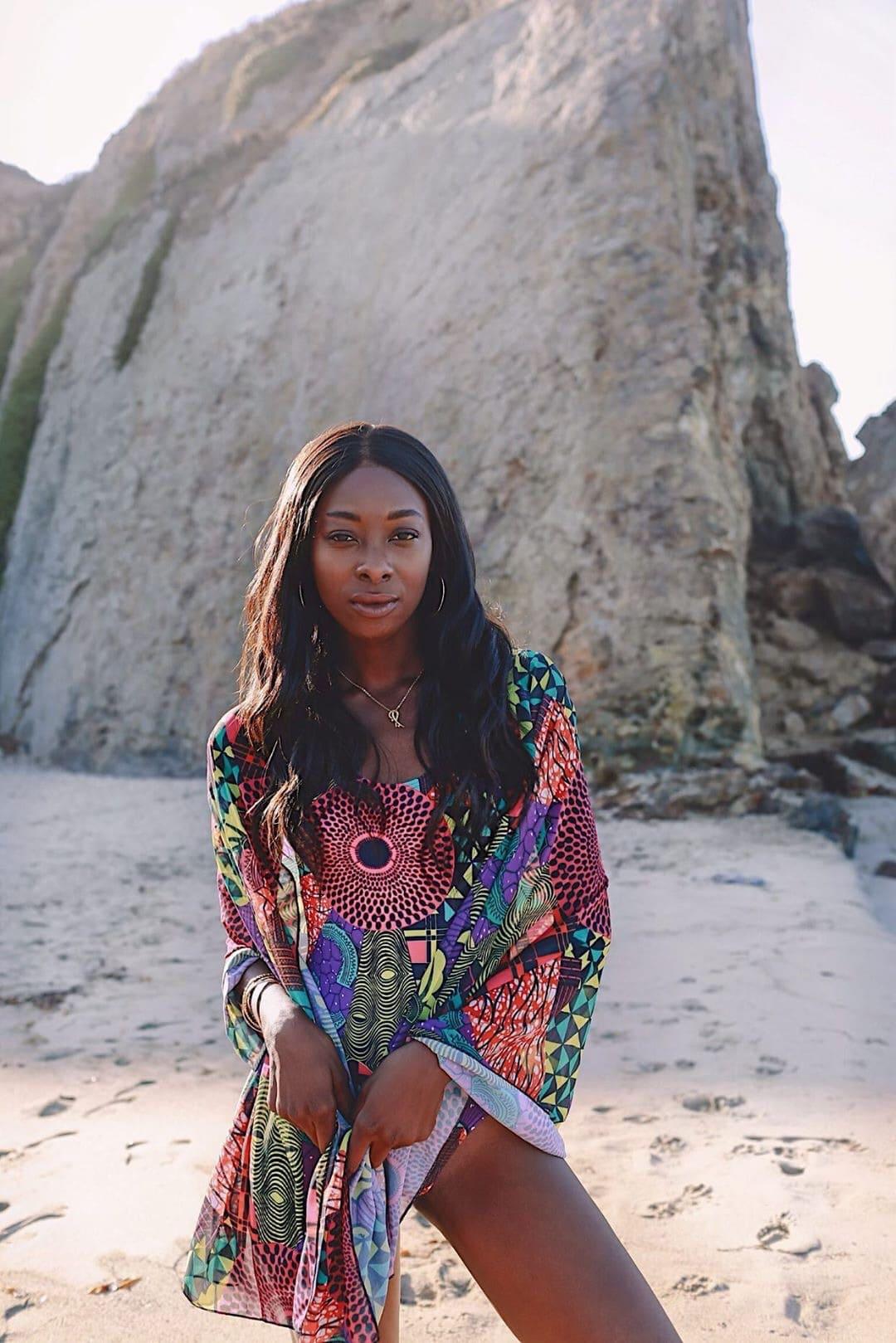 Travel blogger and Fulani girl, @iammariamabarry in Fulani African print swmwear