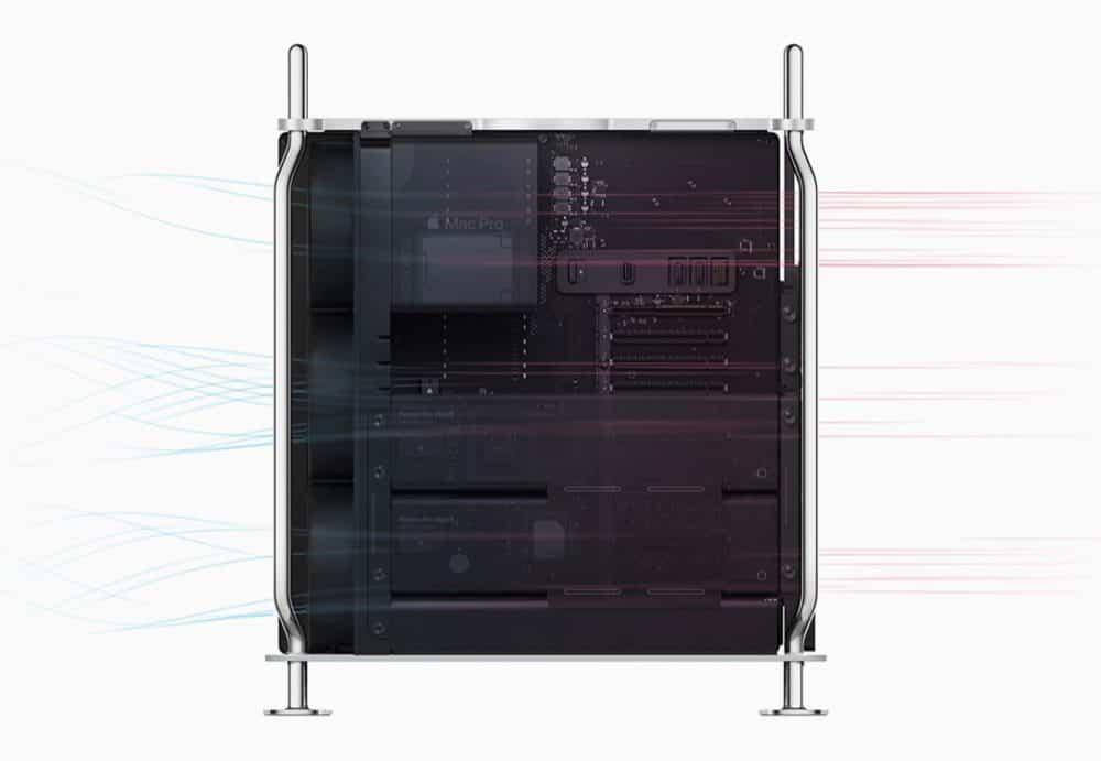 Nejmodernější termální architektura Mac Pro, která ukazuje proudění vzduchu
