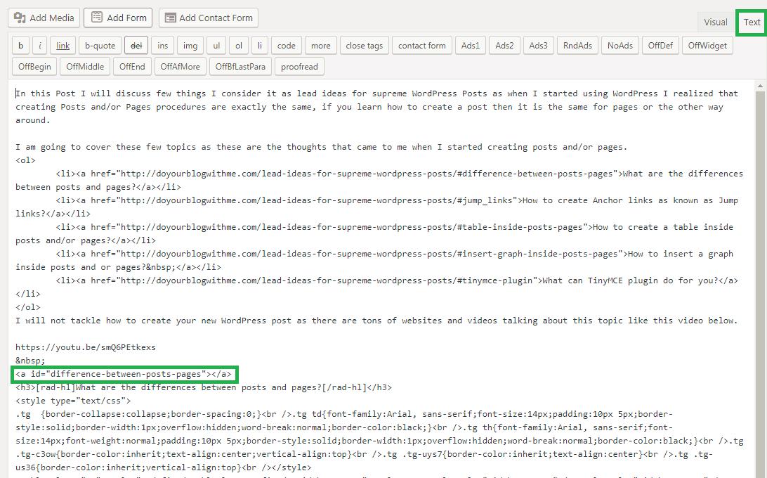 adding anchor id wordpress