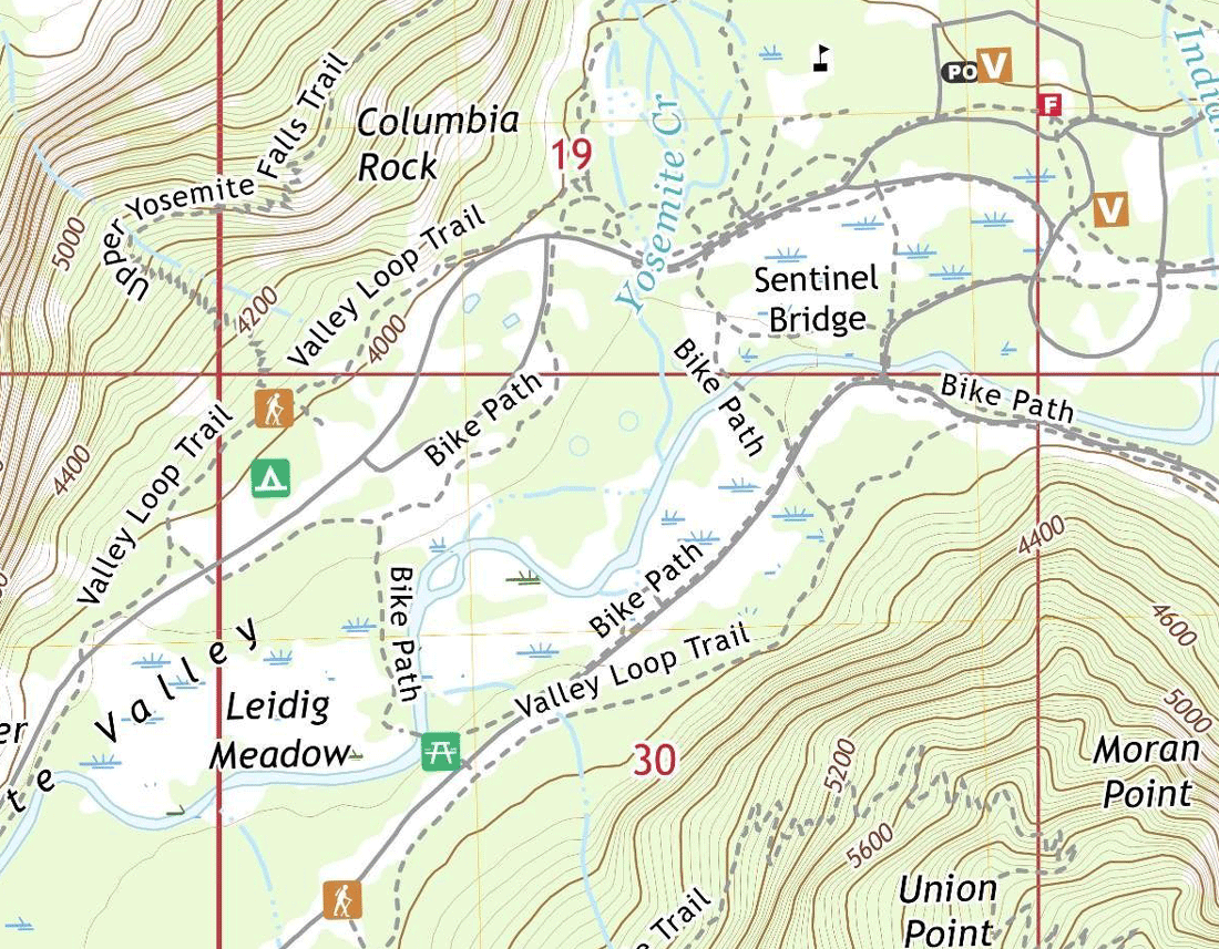 Section of the Half-Dome US Topo map.  Map: USGS