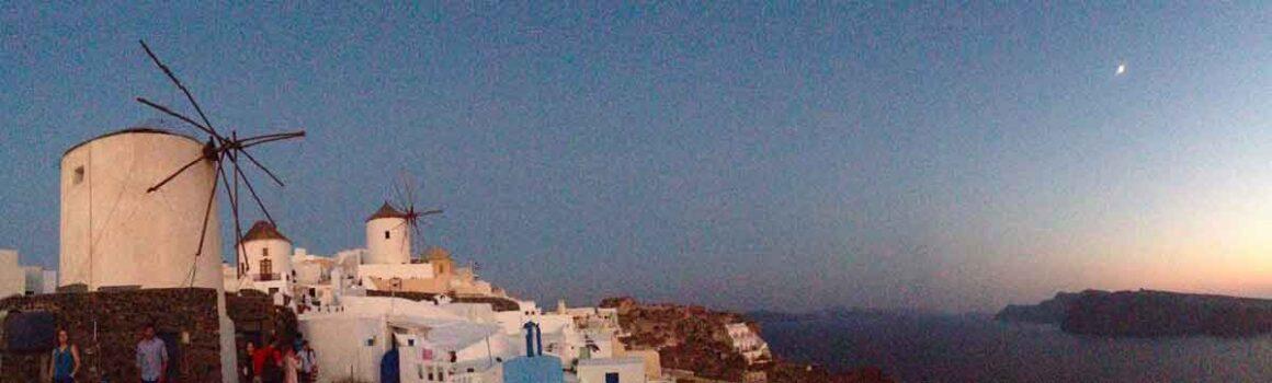 L'ora del crepuscolo a Oia durante il blackout del 2013
