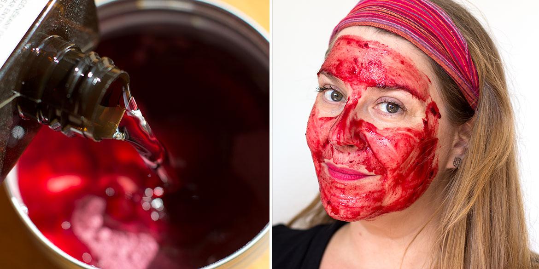 Masque Betterave Shake Typology: mixture et masque posé sur visage