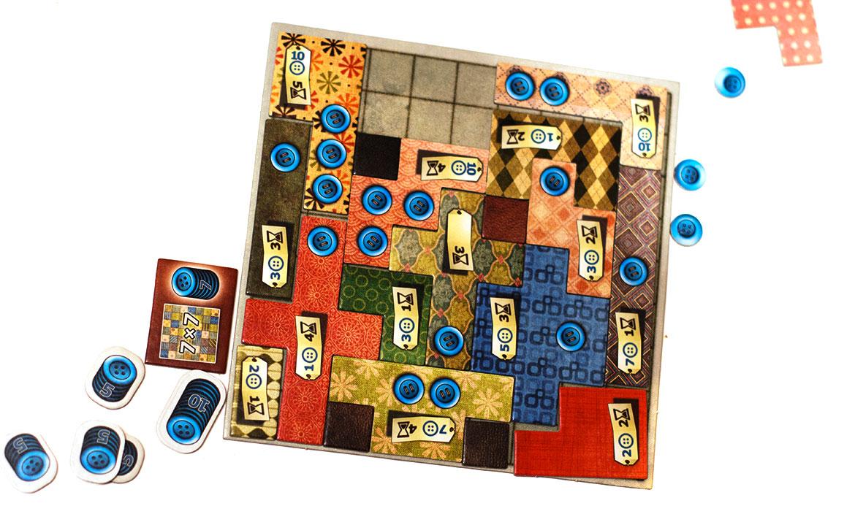 Patchwork jeu de société à 2 joueurs, plateau et tuiles
