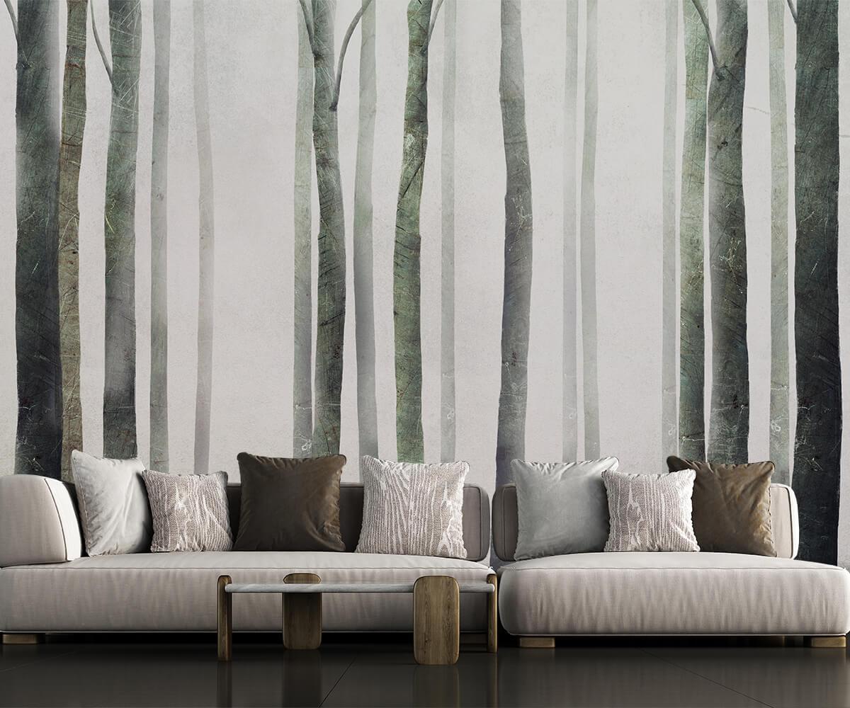 Motyw natury w aranżacji salonu tapeta na ścianę las we mgle