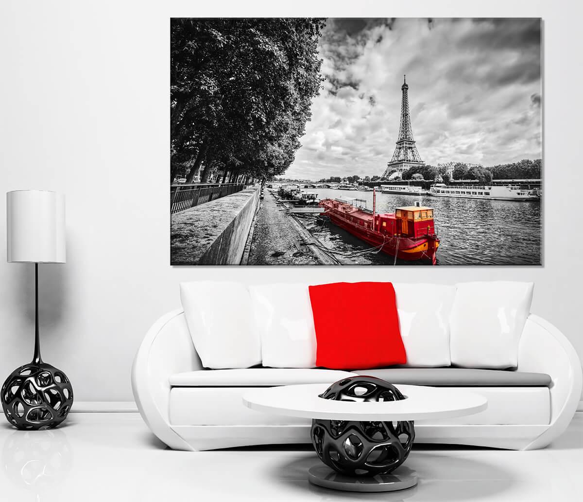 Paryż - Obrazy na płótnie - Barki na Sekwanie