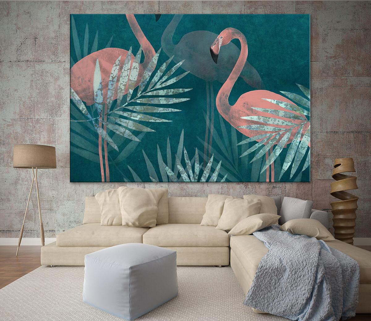 dekoracja ścienna w stylu egzotycznym - braz z flamingami