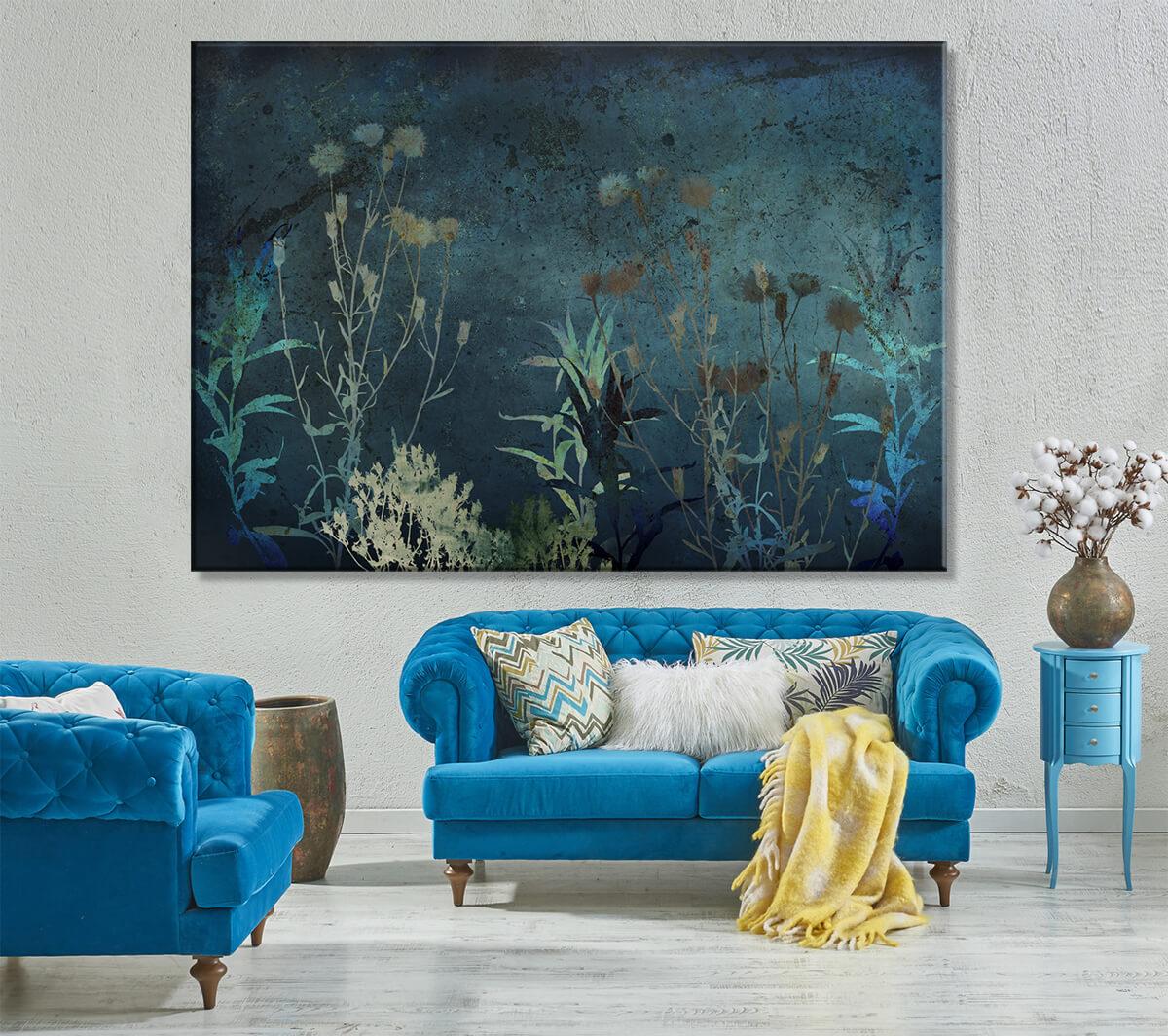 Elegancki salon na ścianie obraz na płótnie z kwiatami