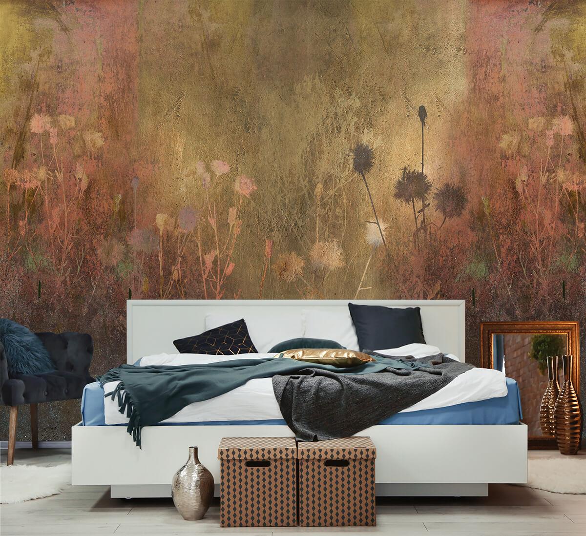 Nowoczesna sypialnia z tapetą w motywy roślinne Urban Jungle