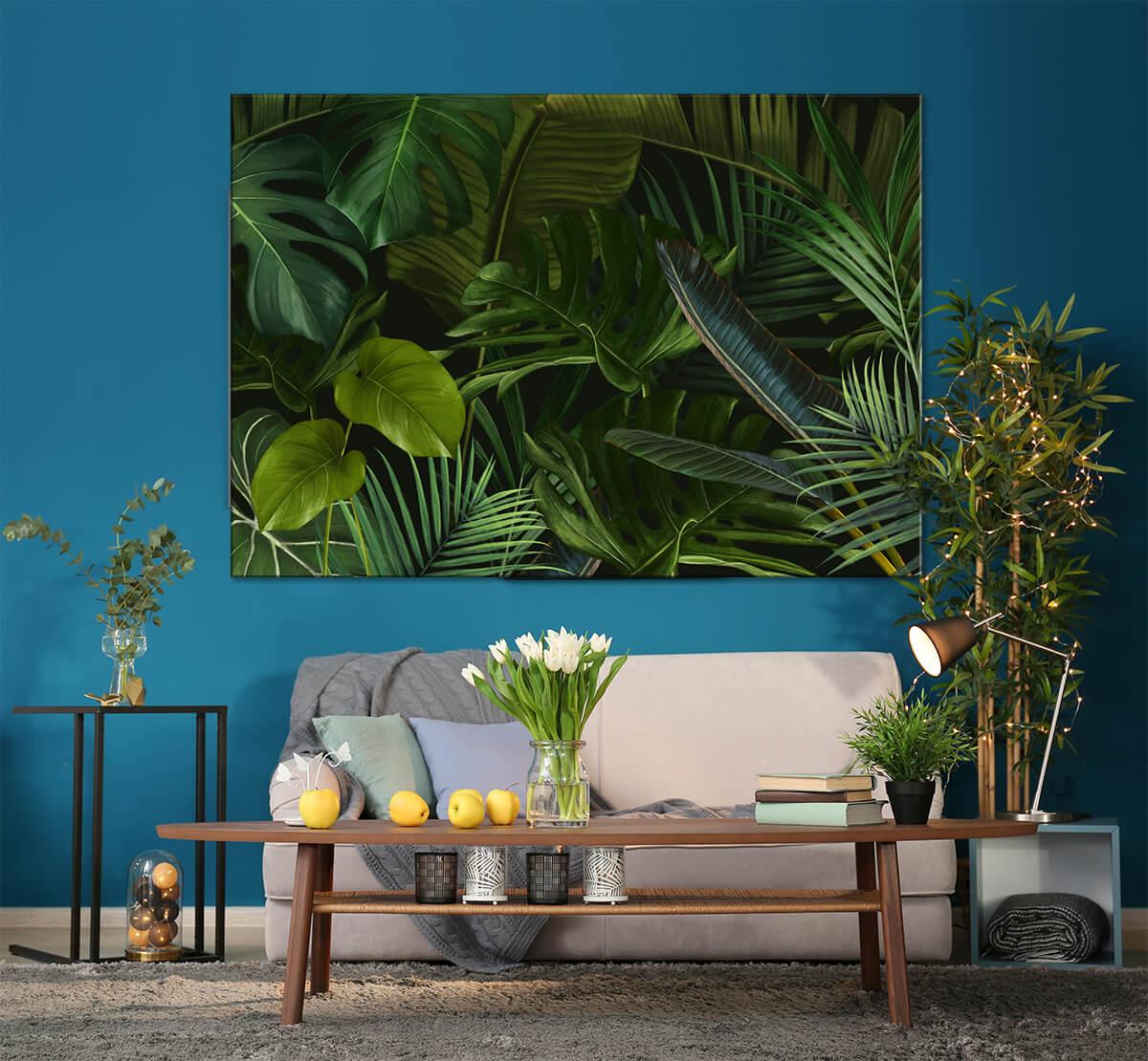Nowocześnie urządzony salon z roślinami obraz na ścianę w palmy