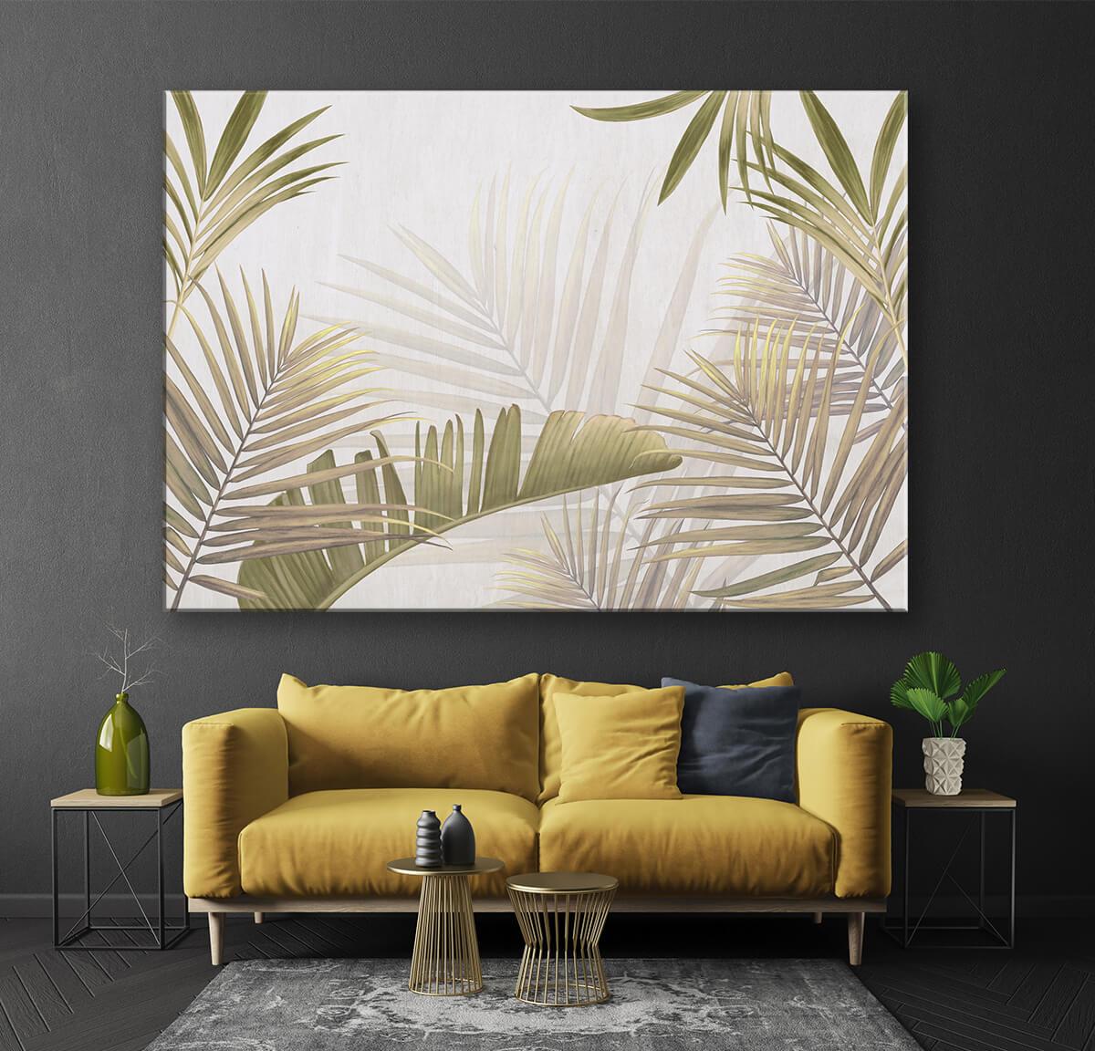 modna ściana w kolorze szarym obraz w liście palm