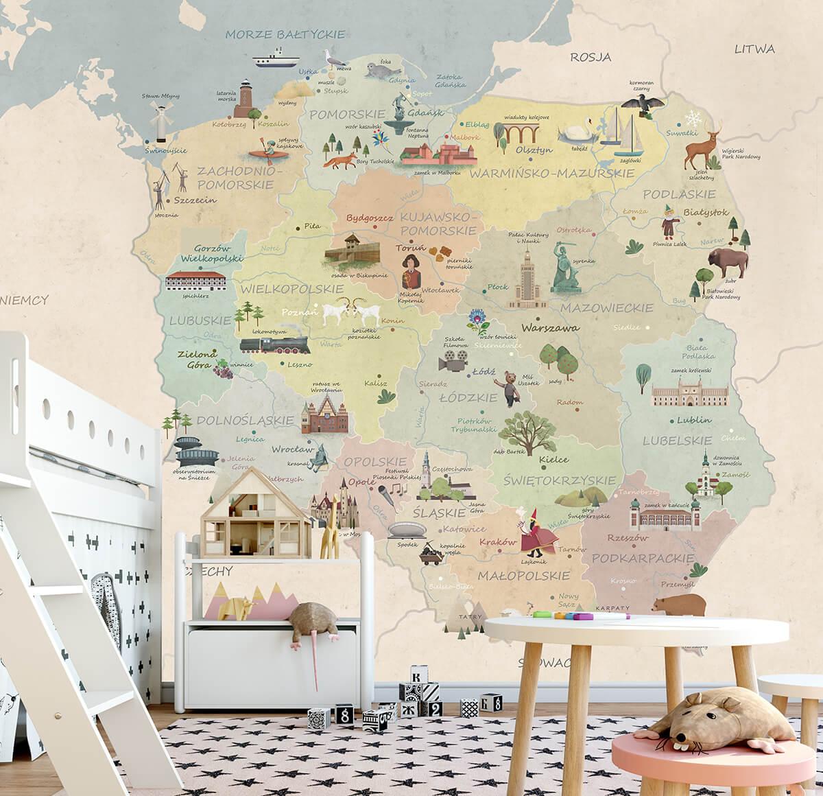 aranżacja wnętrz pokój dziecięcy - tapeta w mapę