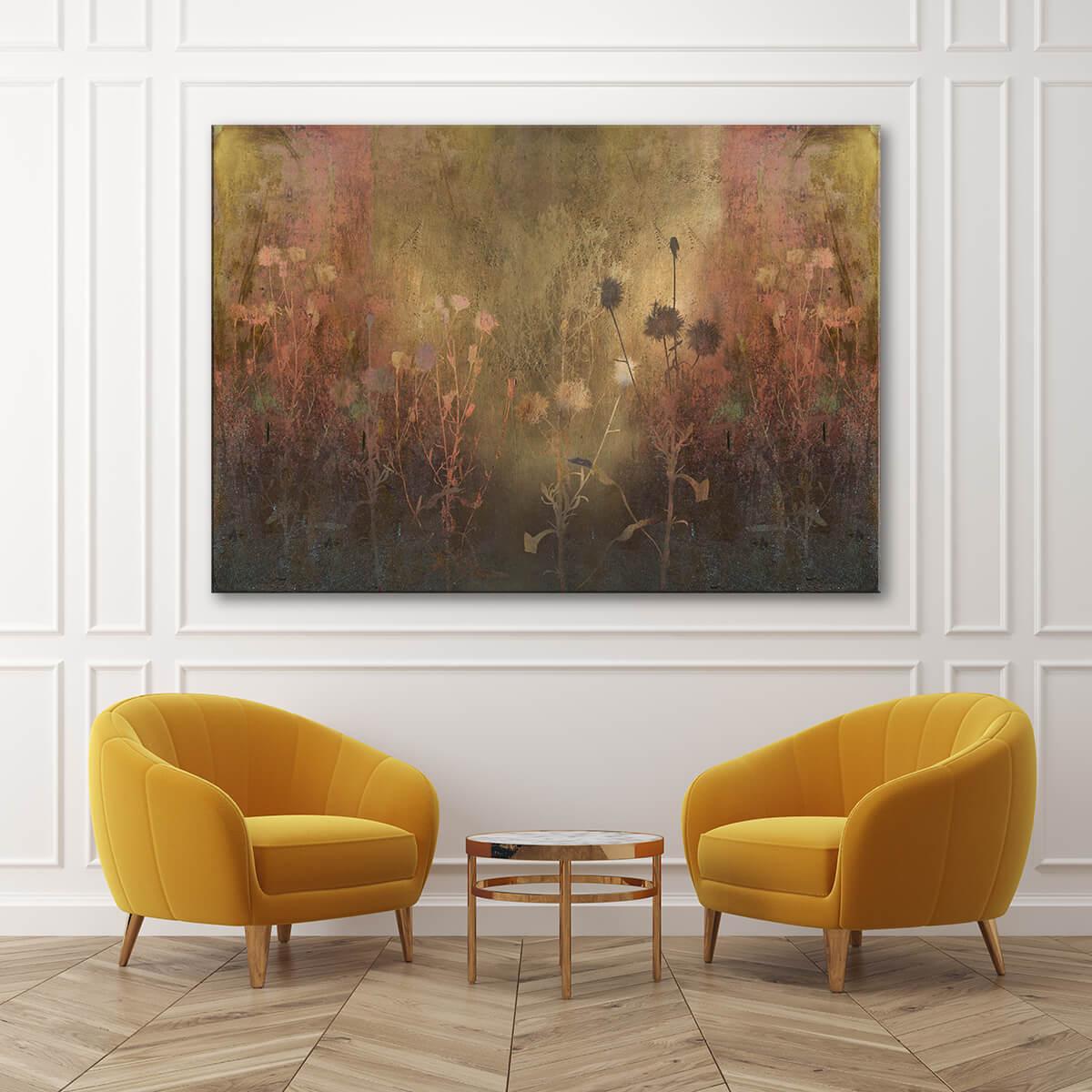 salon w stylu klasycznym - obraz z motywem kwiatowym