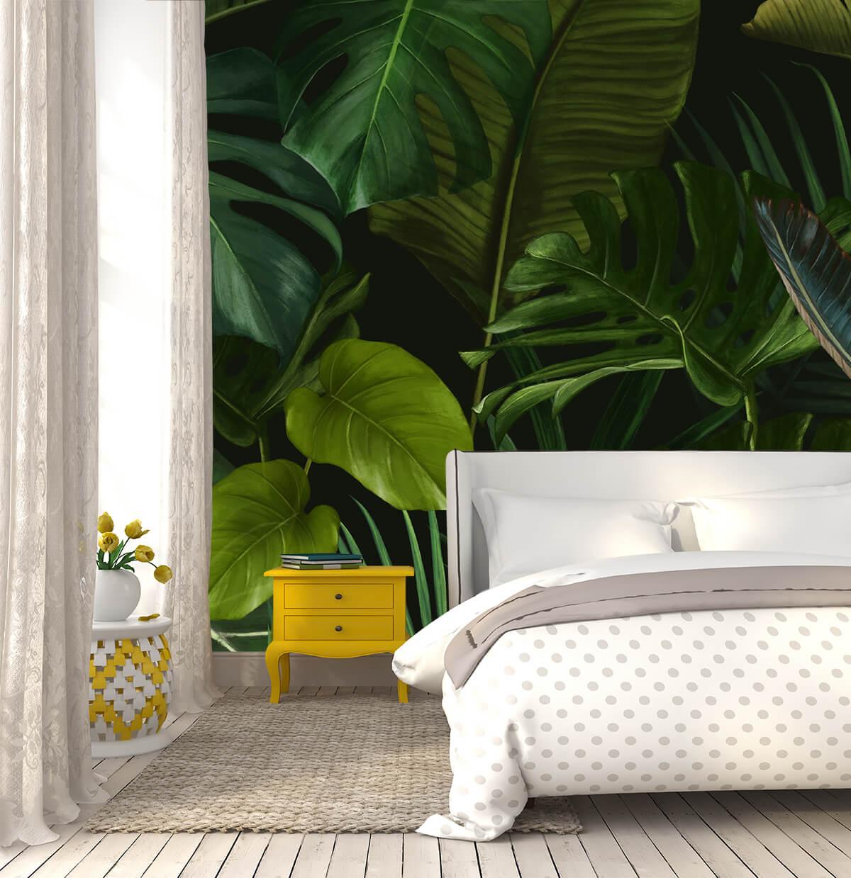 pomysły na urządzenie sypialni - fototapeta w liście Urban Jungle