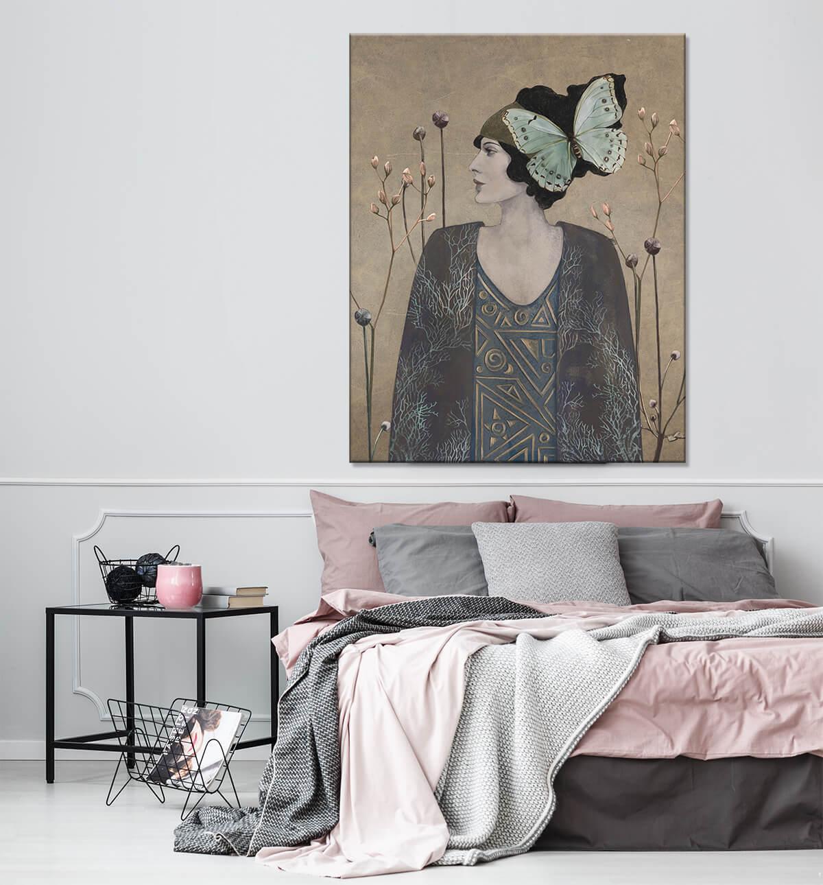 Aranżacja sypialni portret kobiety na płótnie - Secesja