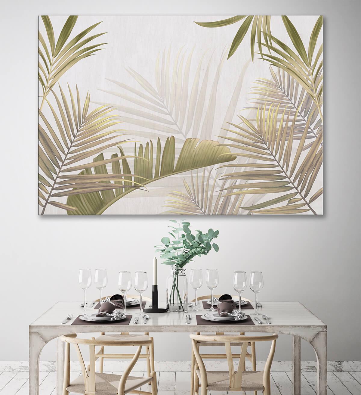 nowoczesna kuchnia i jadalnia na ścianie obraz w palmy