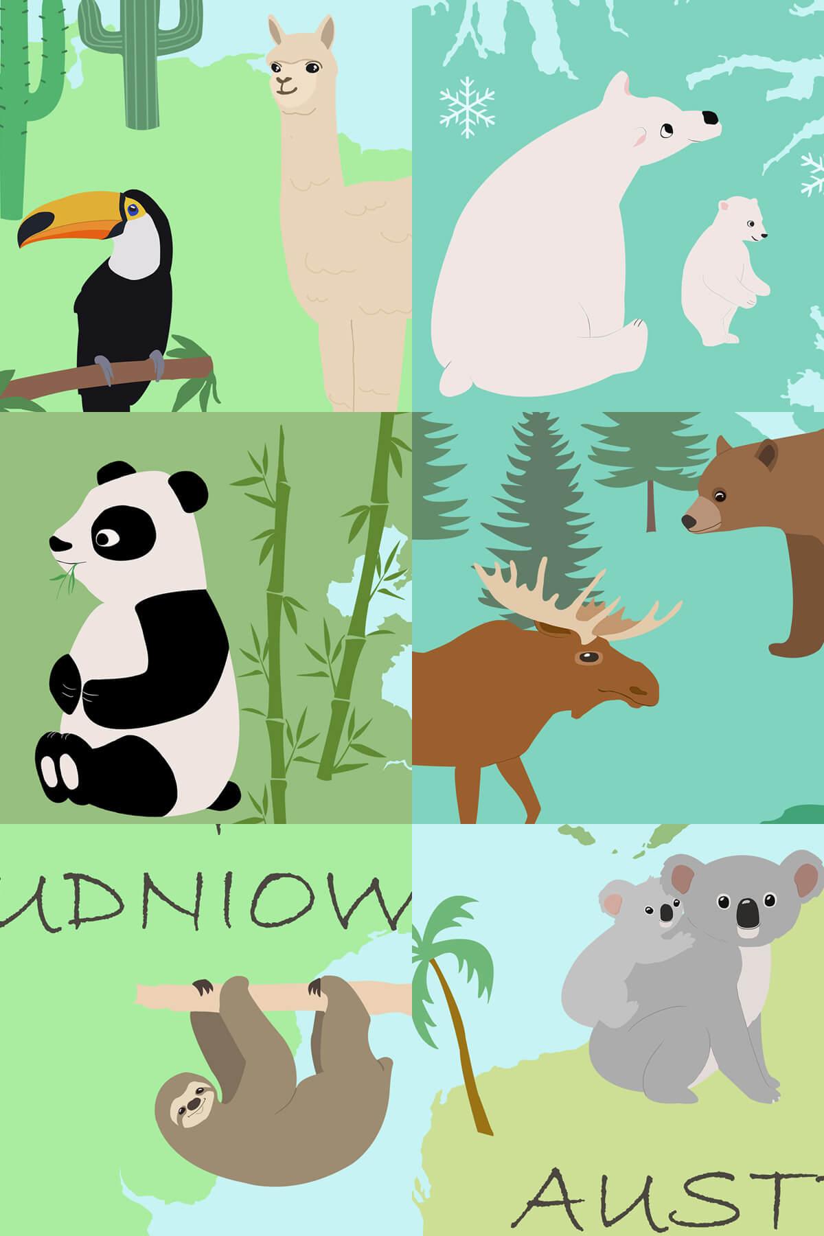 Zwierzęta Rośliny - tapeta dla dziecka