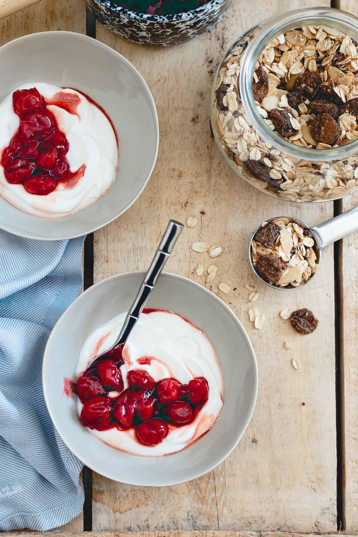 Enjoy this tart cherry ginger muesli over cherry swirled yogurt bowls for an easy, nutritious breakfast.