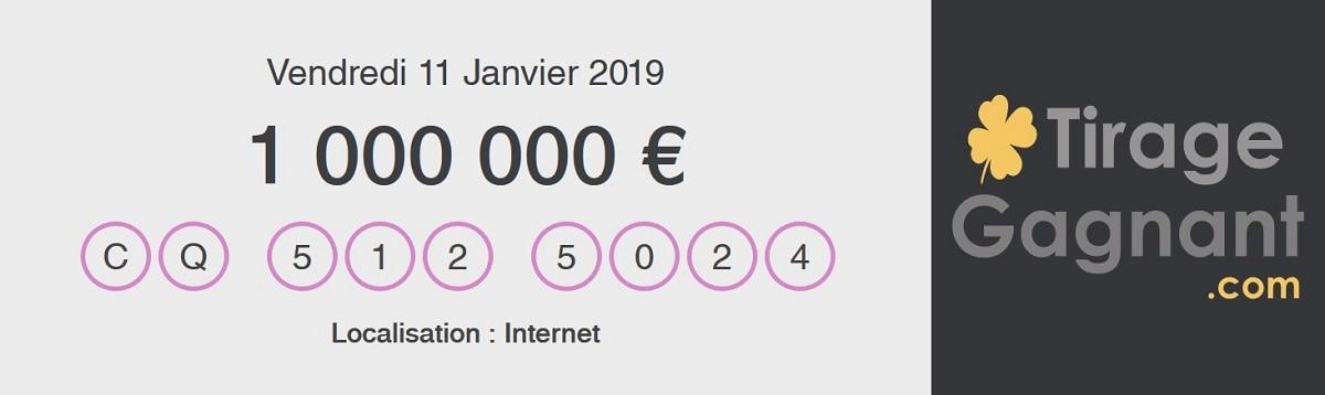 deuxième gagnant My Million par internet