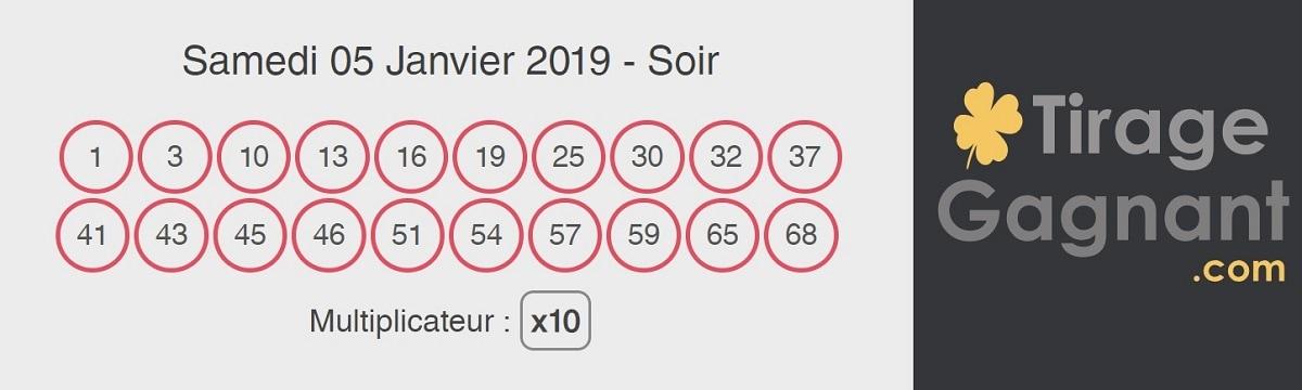 Résultat Keno du soir ce samedi 5 janvier 2019