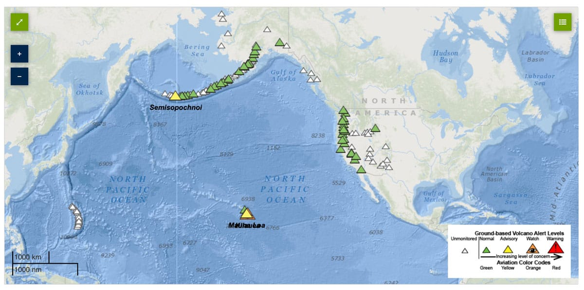 Screenshot from the USGS showing current activity alerts for U.S. volcanoes.  Acquired 2021-February-23.