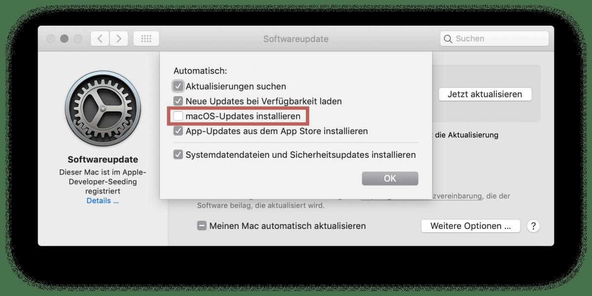 Automatische macOS Updates in den Systemeinstellenungen ausschliessen