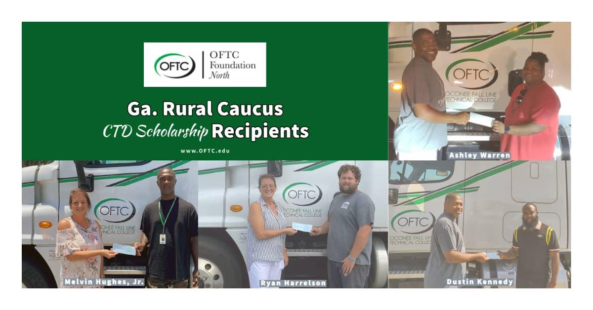 Ga. Rural Caucus CTD Scholarship Recipients: Ashley Warren (Milledgeville), Dustin Kennedy (Augusta), Melvin Hughes, Jr. (McRae), and Ryan Harrelson (Helena).