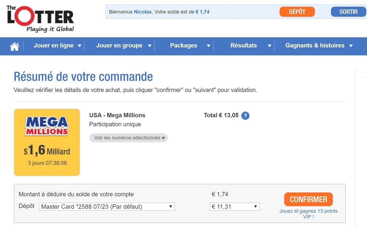 Paiement de vos grilles Mega Millions par carte bancaire sur The Lotter