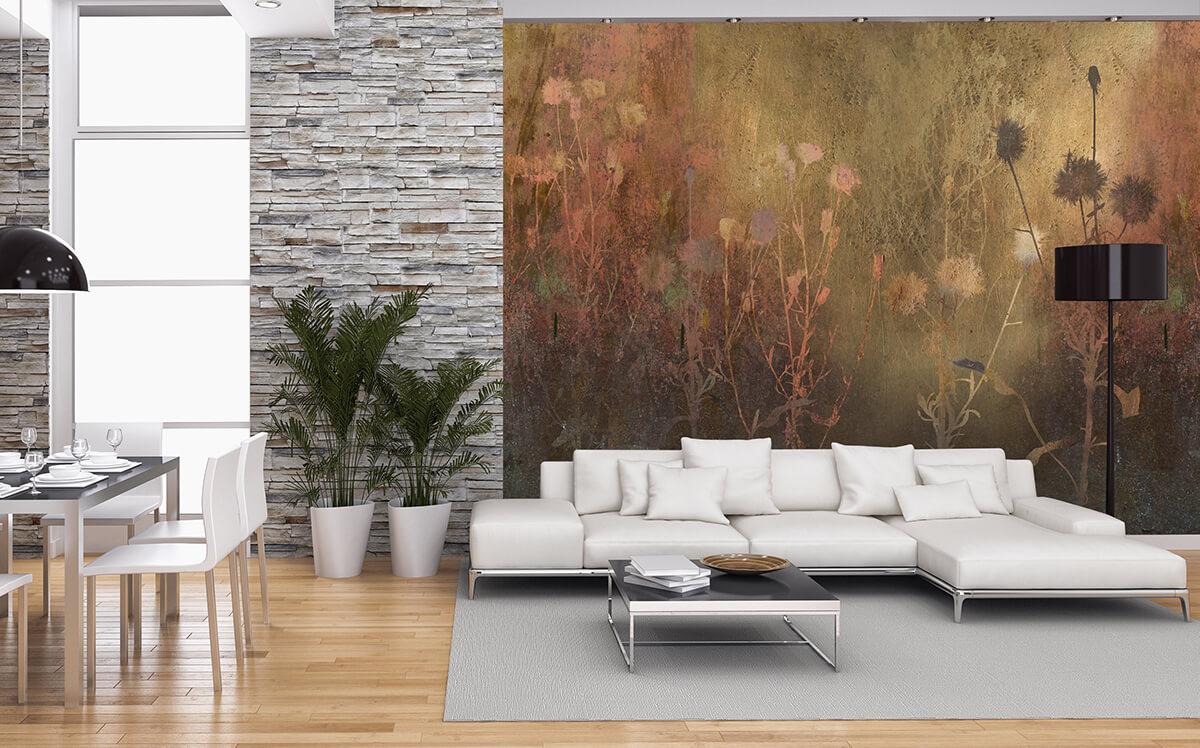nowoczesny salon i jadalnia z tapetą w kwiatowy wzór