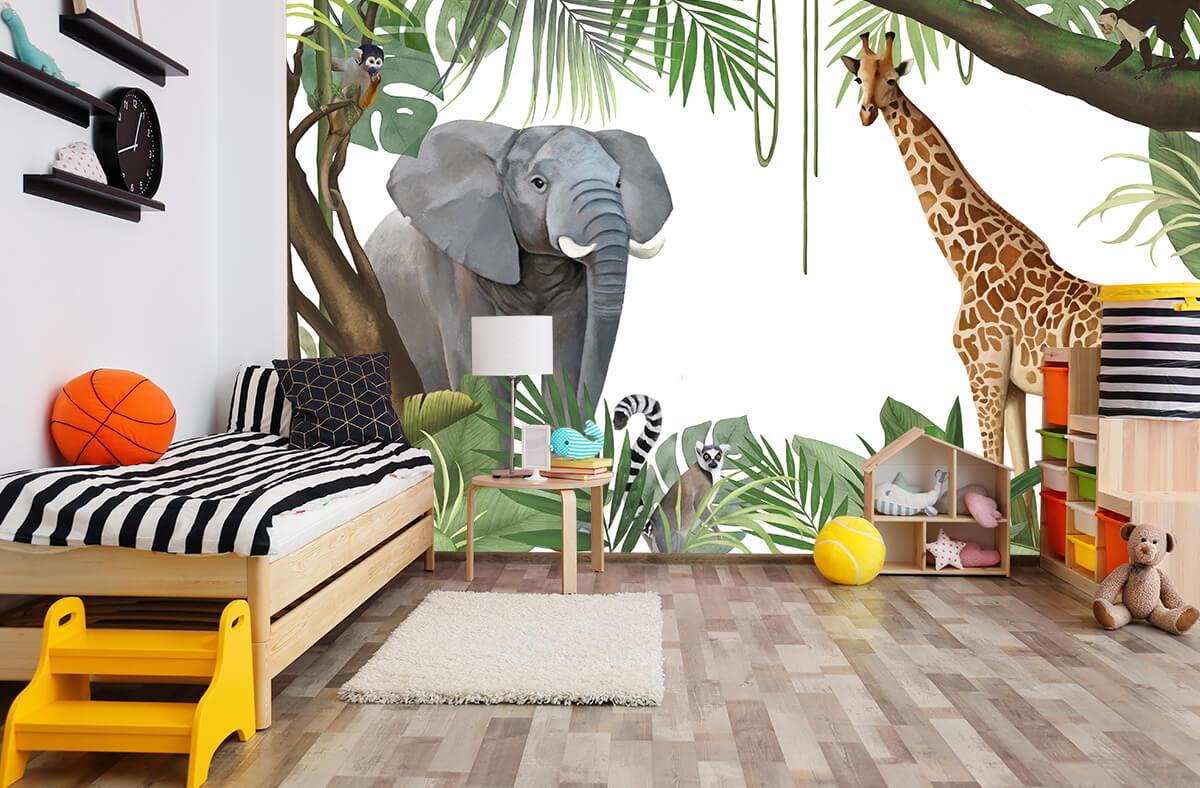 sypialnia chłopca z tapetą egzotyczną ze słoniem żyrafą i mapkami