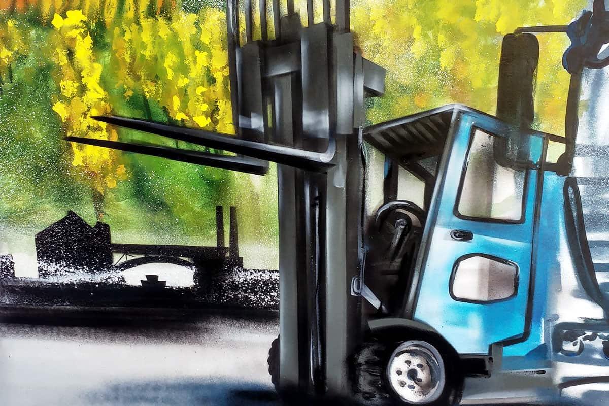 Innenraumgestaltung für die Landverkehrs Abteilung Kühne und Nagel Das fertige Bild zeigt diverse Lastkraftwagen aus der Flotte und die Heimat der Firma Region Stuttgart Da nicht direkt auf der Wand gearbeitet werden konnte, malte Jan das Bild auf 2 große Platten Die Luftfracht Abteilung hatte ihr ganz persönliches Kunstwerk Anfang des Jahres schon erhalten