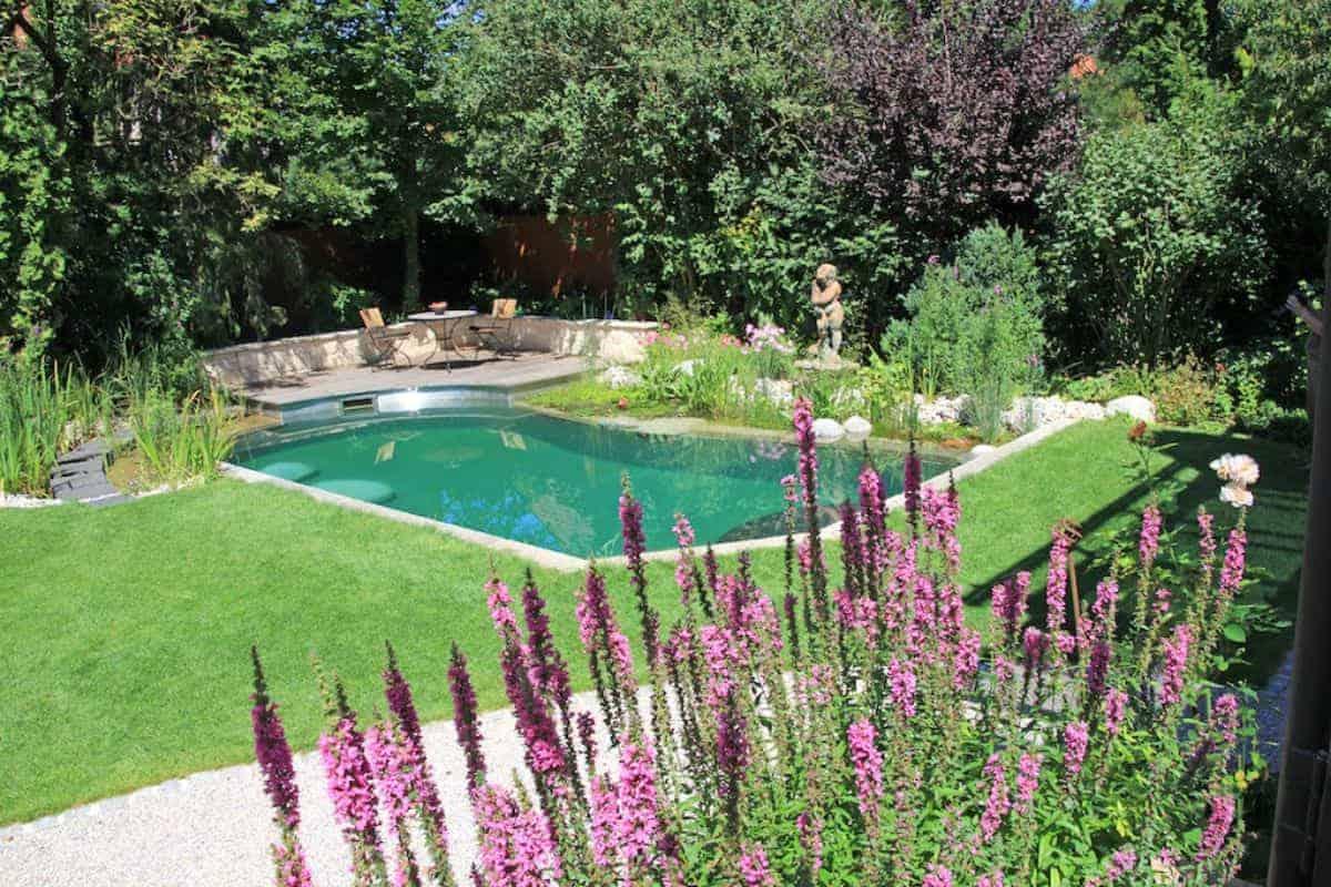 Naturteich mit Terrasse im Garten