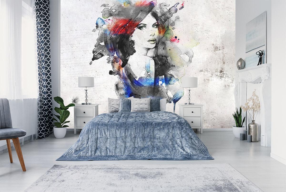 Elegancka sypialnia - tapeta artystyczna - nowoczesna sztuka