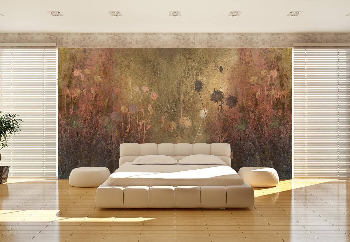 aranżacja nowoczesnej sypialni na ścianie fototapeta na wymiar w złote kwiaty